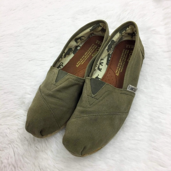 Toms Olive Green Classic Canvas Slipons